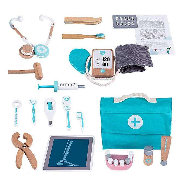 Children Wooden Doctor's Case Role Play Pretend Toy Set