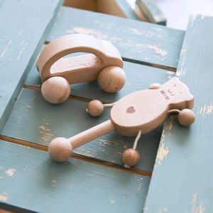 Natural Unfinished Wooden Rattles Baby Fun Toy Intellectual Development Montessori Wooden Toys