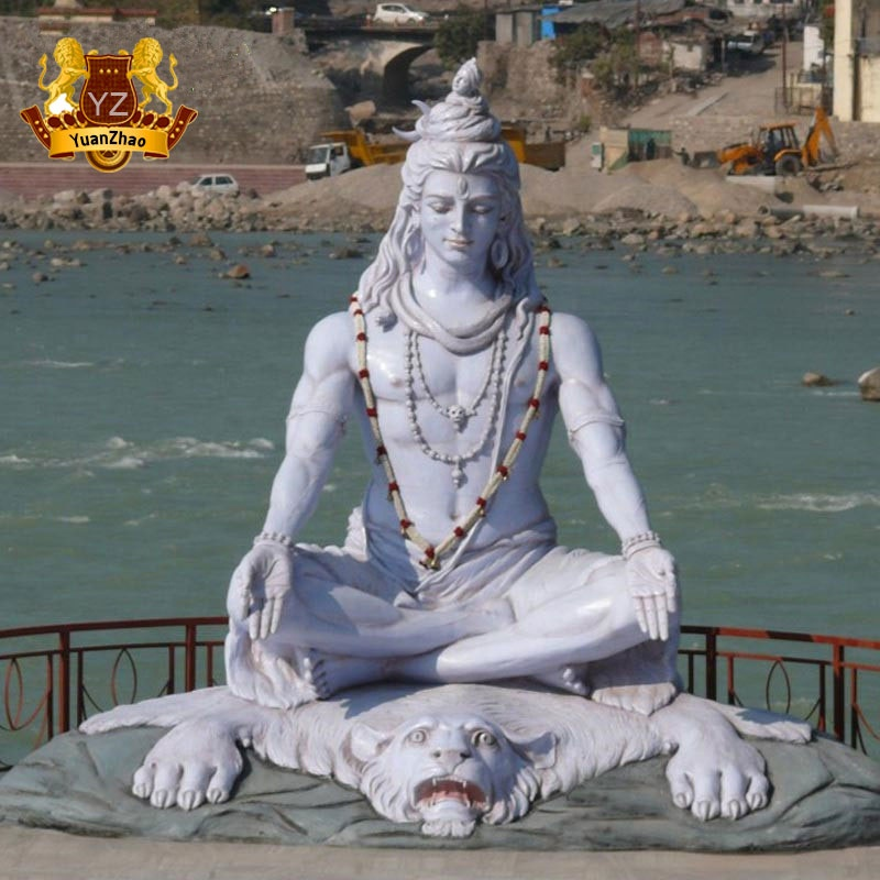 Famous Life Size Stone Lord Shiva Marble Statue sitting on tiger head for Outdoor Decoration