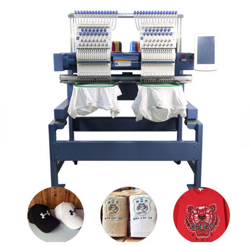 High Speed Maquina de Bordar Computerized 2 Heads T-shirt Embroidery Machine China