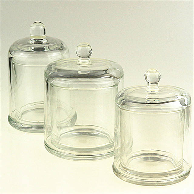 round glass dome candle cloche holders jar with lid
