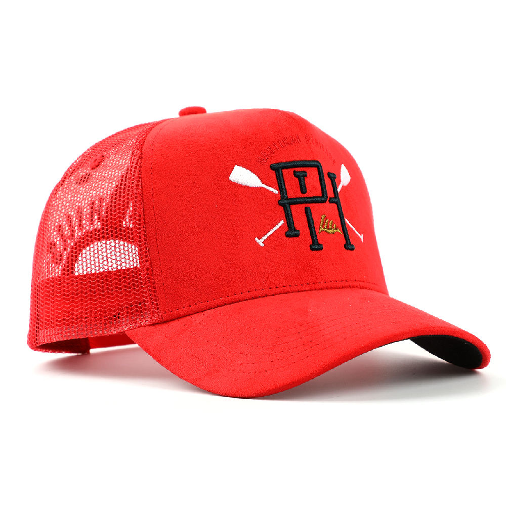Custom Made Meidiney Brand 5 Panel Red Suede 3D Puff Embroidery Logo Mesh Back Trucker Caps Hat