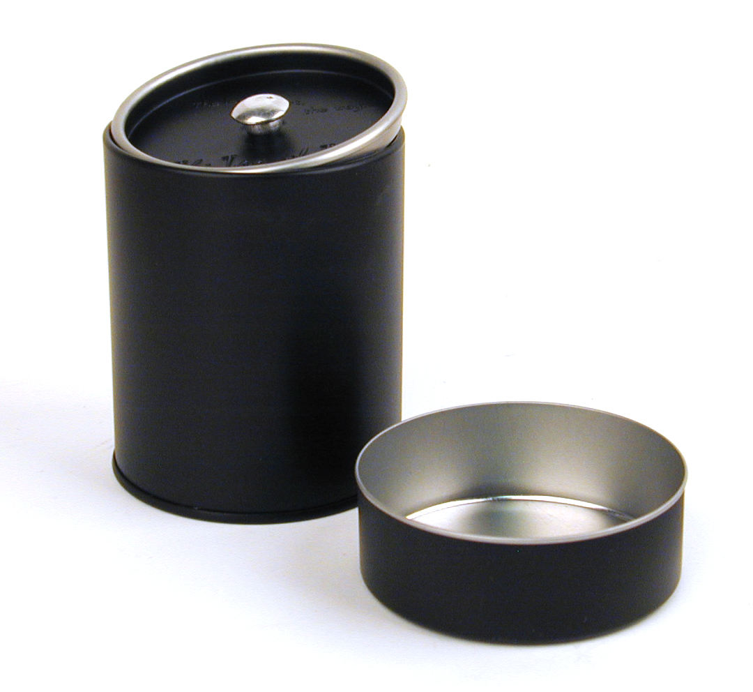 factory airtight black round metal tea tin can for handmade cookie spice packaging storage