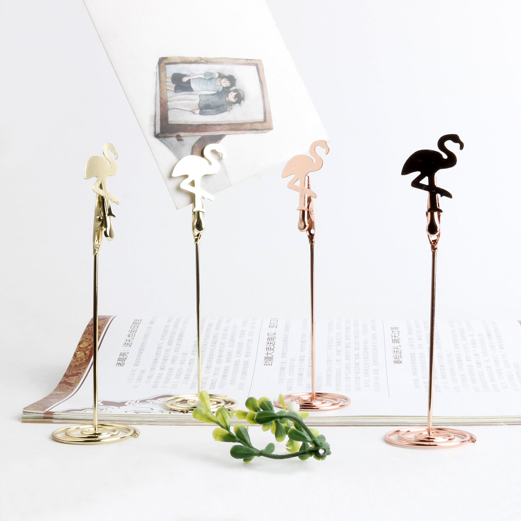 CNglam Metal Silver Gold Rosegold Flamingo Shaped Place Card Holder With Base Desk Memo Holder Pack 10pcs