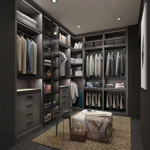 Bedroom walk in closet furniture wooden wardrobe closet aluminum pole system walk in closet
