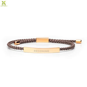 Custom Jewelry Engravable Statement Bar Bracelets Adjustable Braided Colorful Nylon Rope Bracelet for Men Women
