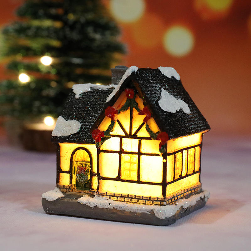 Ornaments Christmas Gifts Polyresin Christmas Holiday Village House With Led Light