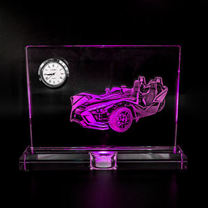 wholesale new design k9 blank Sublimation crystal glass trophy custom logo crystal clock with LED base