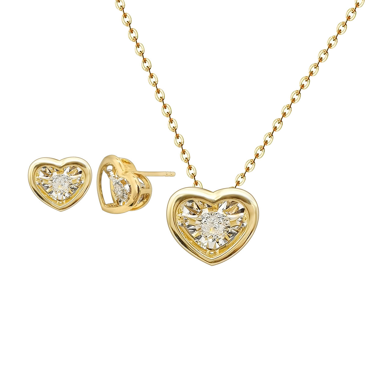 Popular Gold 18k Gold Heart Necklace Dancing Diamond Heart Earrings 18K Gold Necklace Set