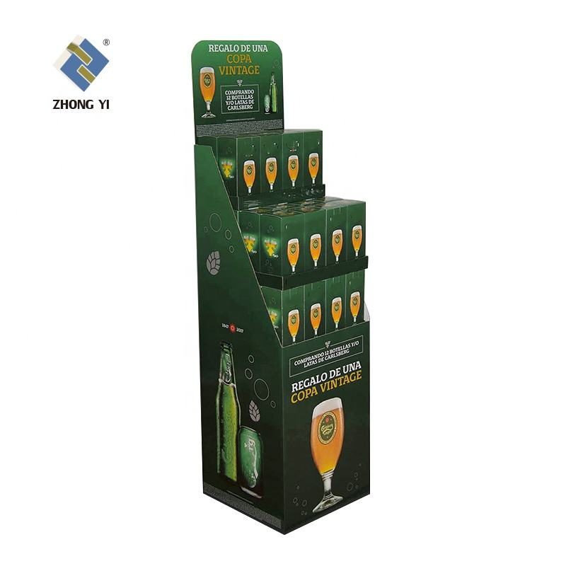 POP Corrugated Cardboard Paper Shipper Floor Display Stands Cardboard Carton Shelf Display Stand for Advertising