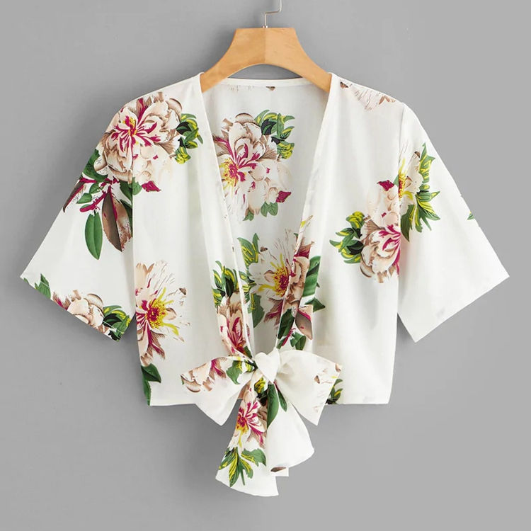New Design V-neckline with tie belt at waist wide sleeves floral print wrap design top for women