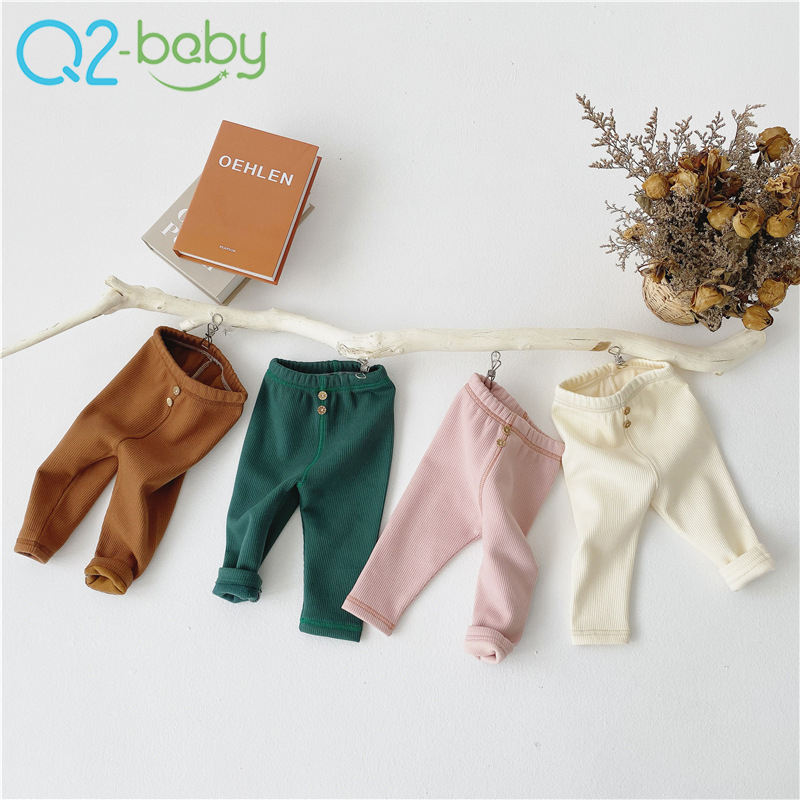 Hot sale infant thickened threaded leggings pants baby simple and versatile stretch pants 2502