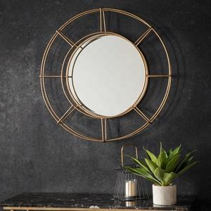 Special Design Industrial Metal Gold Wire Frame Round Decor Wall Mirror