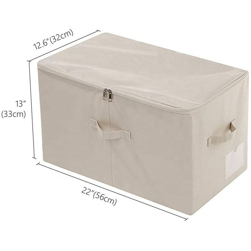 Large Closet Storage Box with Lid, Collapsible Wardrobe Clothes Storage Boxes, The Size Similar with IKEA SKUBB Series, Beige