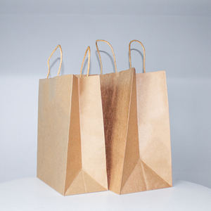 Wholesale custom logo printing recyclable kraft paper bags for food shopping clothing shoes with handle