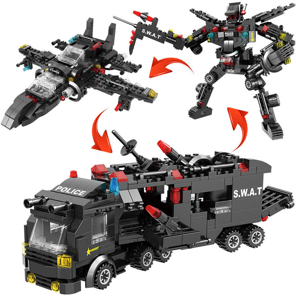 8 in 1 legoinglys city police series black legoingly ABS 715pcs city swat helicopter series Block Set