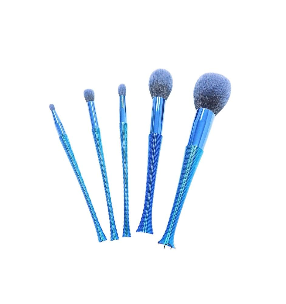 5pcs set blue fibre artificial hair makeup cosmetic brushes with crystal metal hand