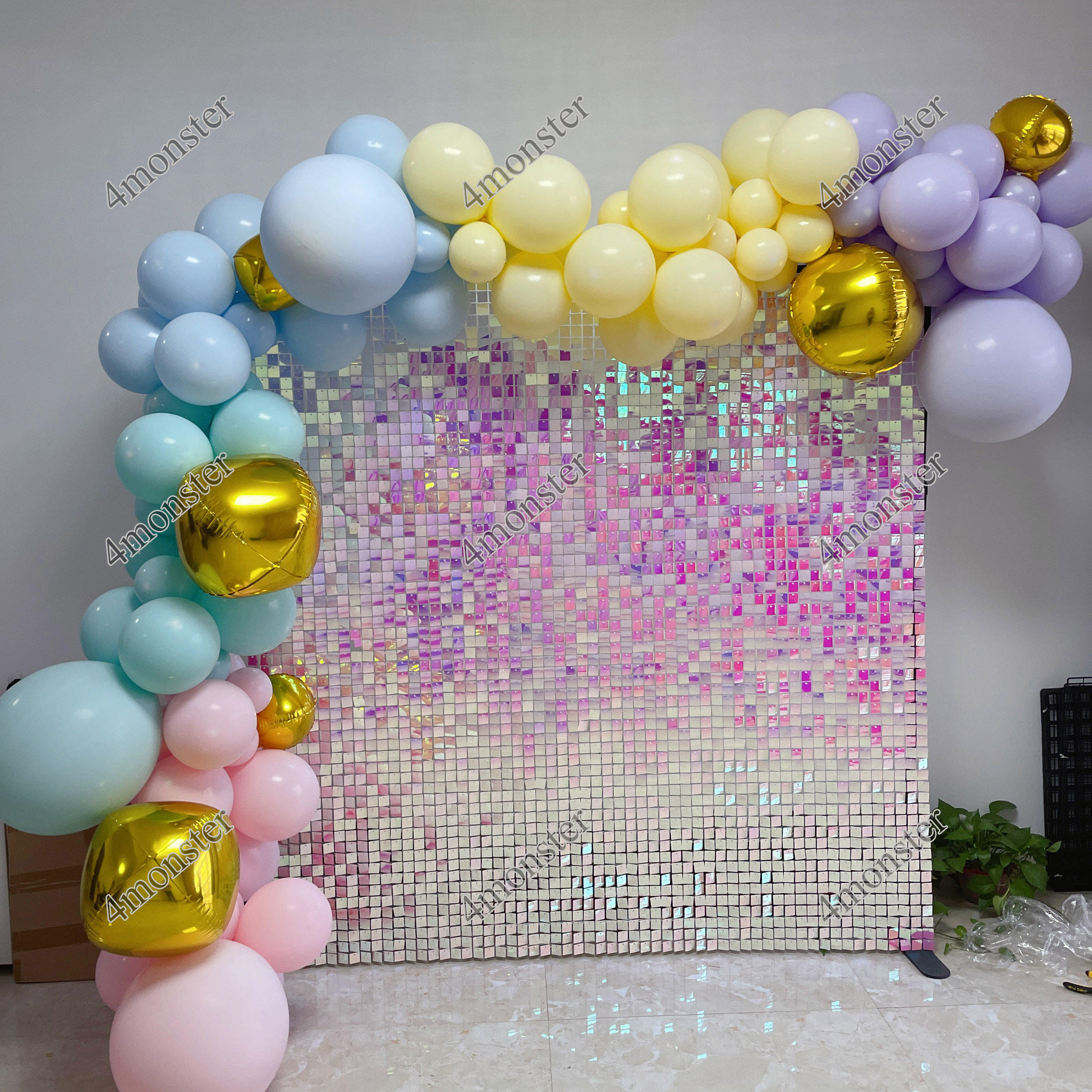 Party background decoration shimmer sequin backdrop wall panel 30*30cm shiny gold backdrop wedding