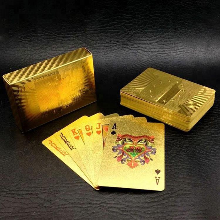 نقبل الصغيرة أوامر مخصص الطباعة شخصية للماء أوراق اللعب مع الذهب أحبطت