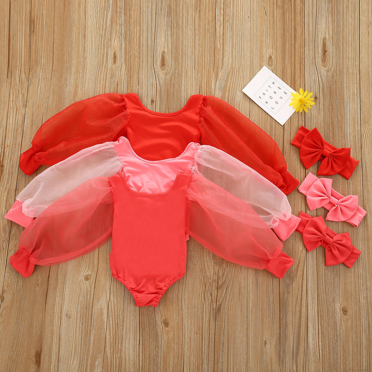 Valentine White Red Pink Scoop Low Back Leotards Newborn Kids Baby Girl Mesh Puff Long Sleeve Romper Bodysuit With Bow Headband