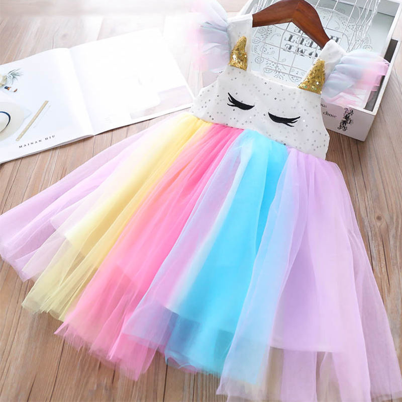 Embroidered Cartoon Print Summer Rainbow Princess Girl Dresses Colorful Mesh Baby Girl Dresses
