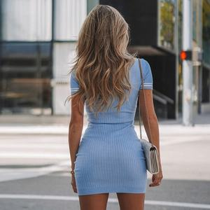 Summer Fashionable Women Casual Cotton Short Sleeve Sexy Bodycon Dress
