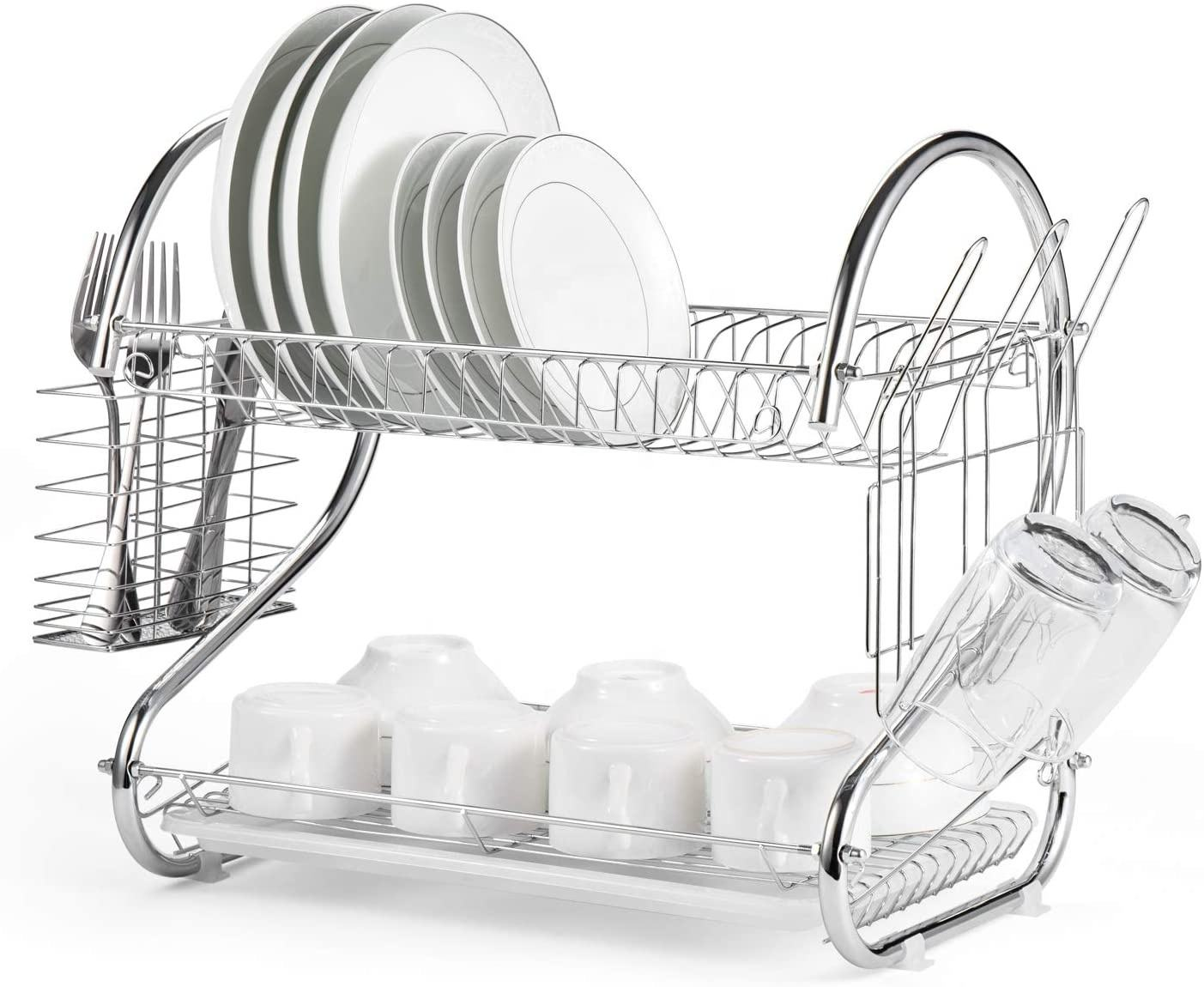 Dish Drying Rack, 2 Tier Dish Rack with Utensil Holder, Cup Holder and Dish Drainer for Kitchen Counter Top, Chrome