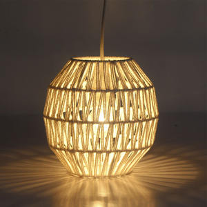 Top selling paper rope chandelier hang light for white elegant dinning home decoration rattan pendant light
