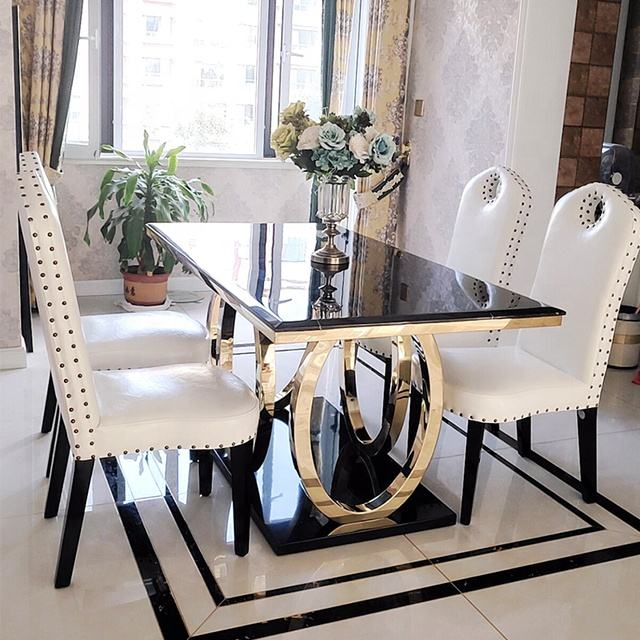 Delicate light luxury modern dining table