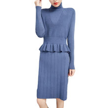 new arrival long sleeve loose women super soft warm cashmere knitted long sweater women casual dress