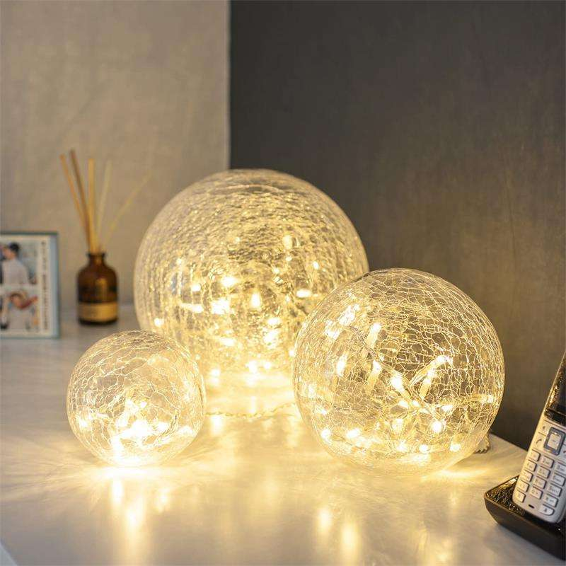 Set Van 3 Crackle Glas Bal Lichten 8 10 12 Cm Globes Decoratieve Indoor Tafel Verlichting Met Warm Wit Led string Stemming Fee