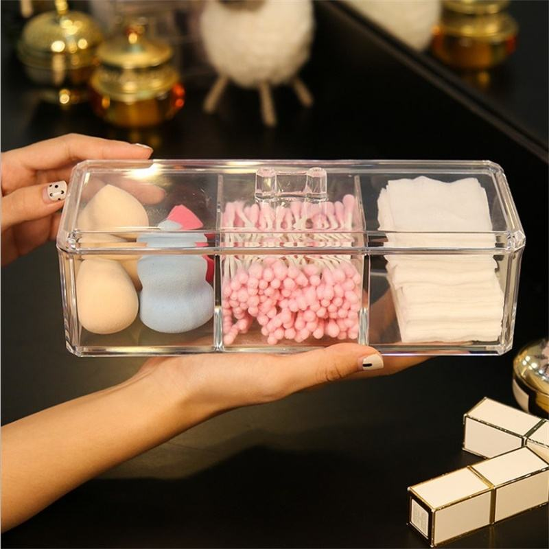 Tray Desk Drawer Organizer-Acrylic Storage Clear Countertop Holder with lid for makeup jewelry brush pen pencil
