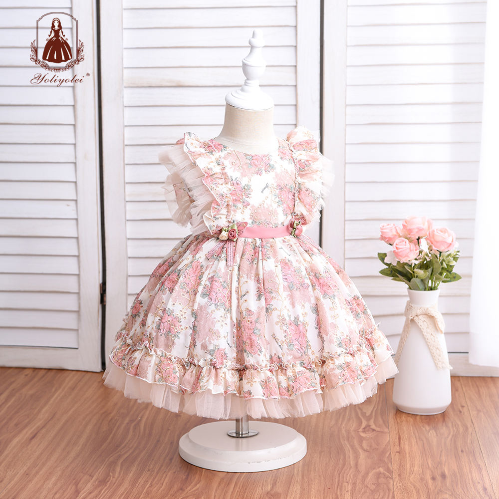 Wholesale New Born Girl Party Dress Court Style Hollow Embroidery Floral Printed Royal Lolita Spanish Baby Dress