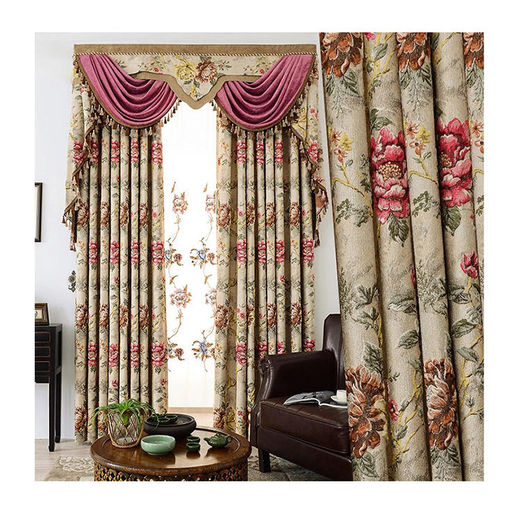 hot sale 3D luxury valance jacquard living room draperies for window curtains