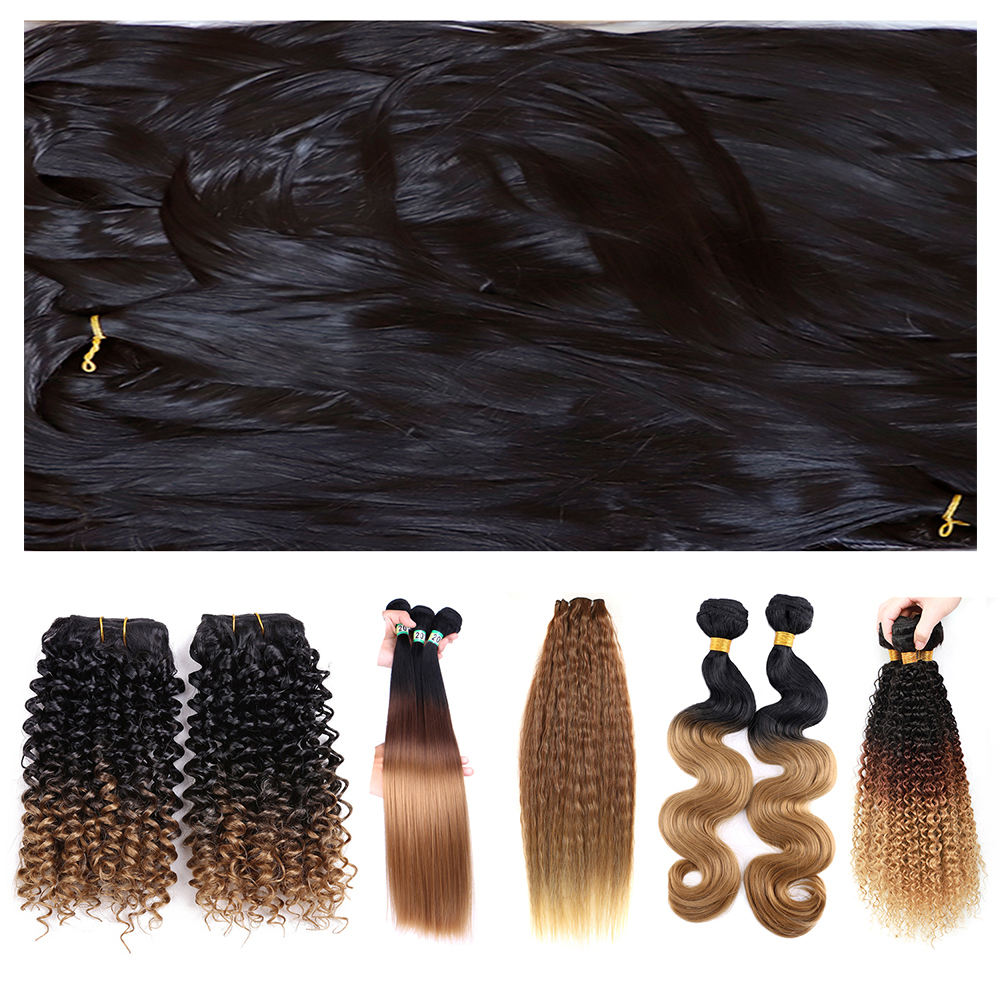 Super Soft Fiber PBT High Temperture Flaming Fiber can Mixed with Human Hair Extention wig hair bundles Synthetic Hair Fiber