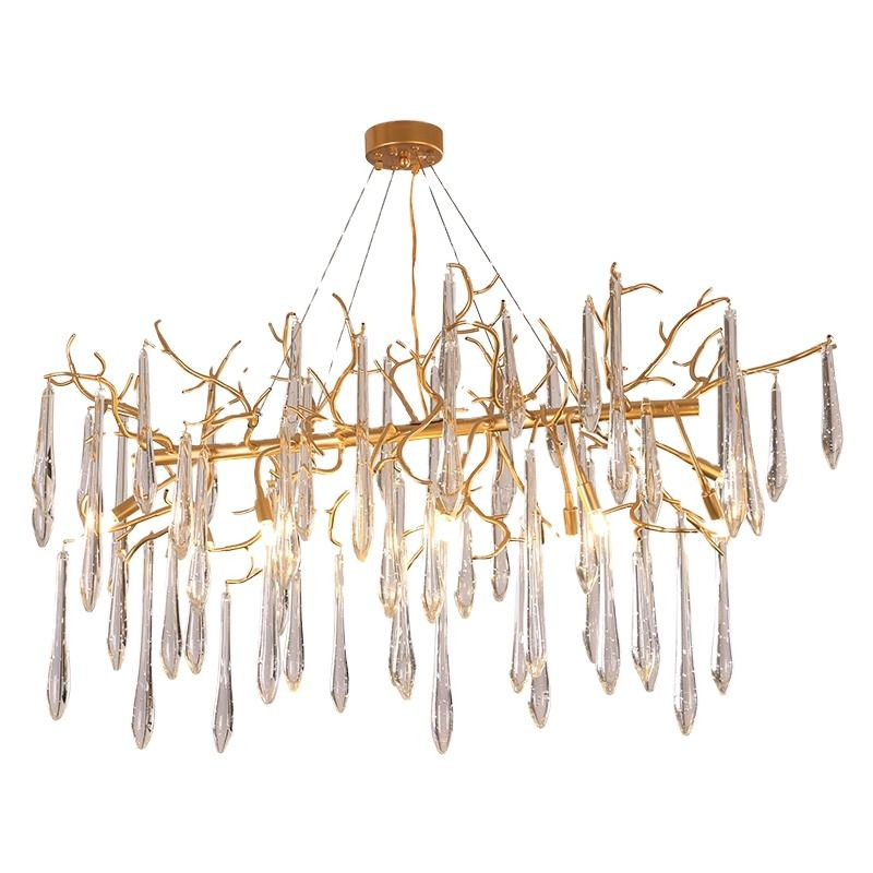 Modern minimalist unique European wrought iron twig crystal chandeliers