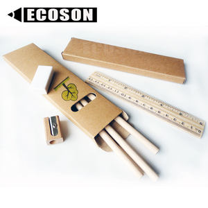 Eco-Friendly di Carta Kraft Contenitore di Regalo di Imballaggio Eco-Friendly Matita Righello di Legno Temperamatite Gomma Eco-Friendly di Cancelleria Produttore