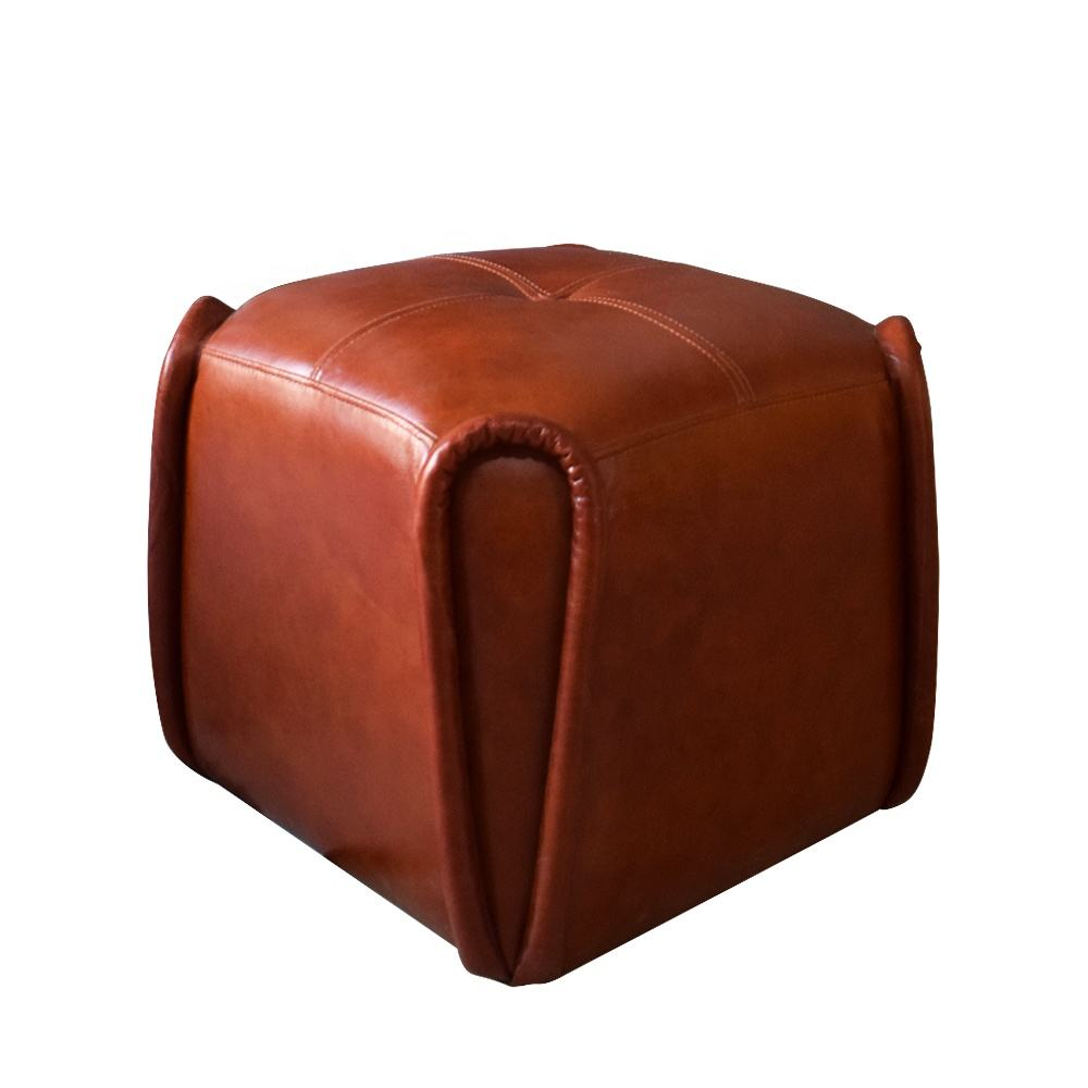 Factory Direct Sales Good Quality Leather Stool Ottoman Living Room Furniture