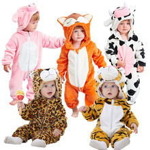 Wholesale thicken flannel baby romper costume baby clothes kids animal overall winter warm long sleeve baby boy rompers jumpsuit