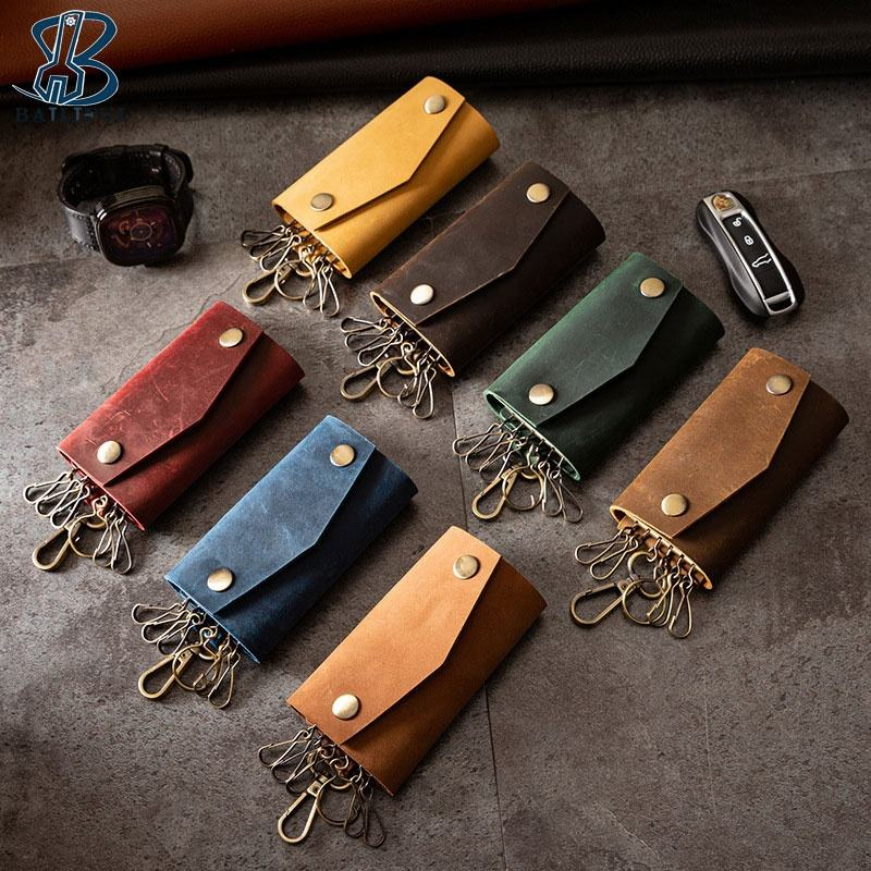 New Style Leather Key Holder Retro Multi-Function Car Logo Keychains Leather Key Chain Ring