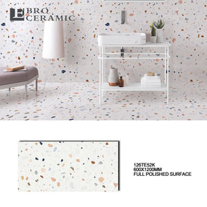 High quality 600x1200 full polished glazed terrazzo designs porcelain decor bangladesh price floor and wall tile