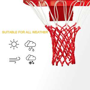 Actearlier All weather basketball net heavy duty basketball hoop white/black/red/blue net with 12 loops