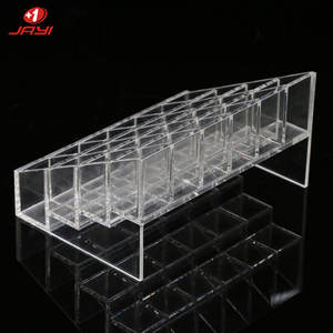 JAYI Wholesale Custom Clear 4 Layer Acrylic Cosmetic Display Stand 24 Slot Lipstick Holders