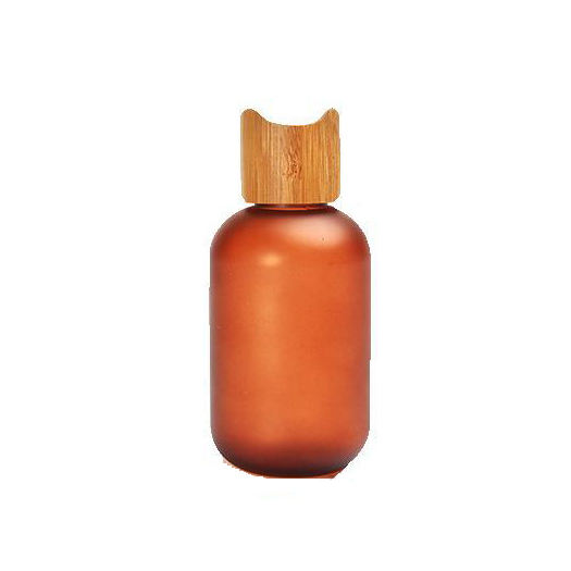 Bamboo Cosmetic Eco-friendly PET Amber Frosted Bottle 60ml 120ml 250ml Lotion Pump/spray/press Cap Bottle And Bamboo Lid