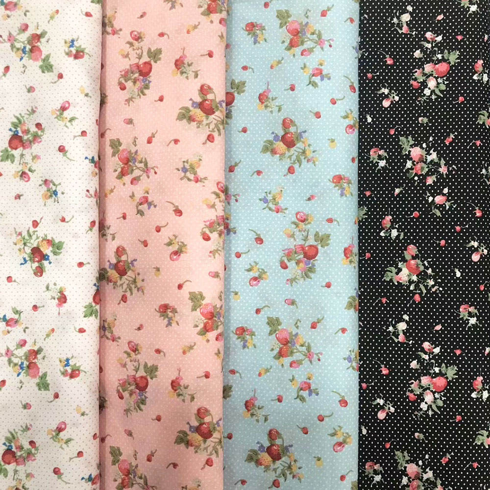 Small flower pattern custom printed 100% cotton woven plain fabric for baby