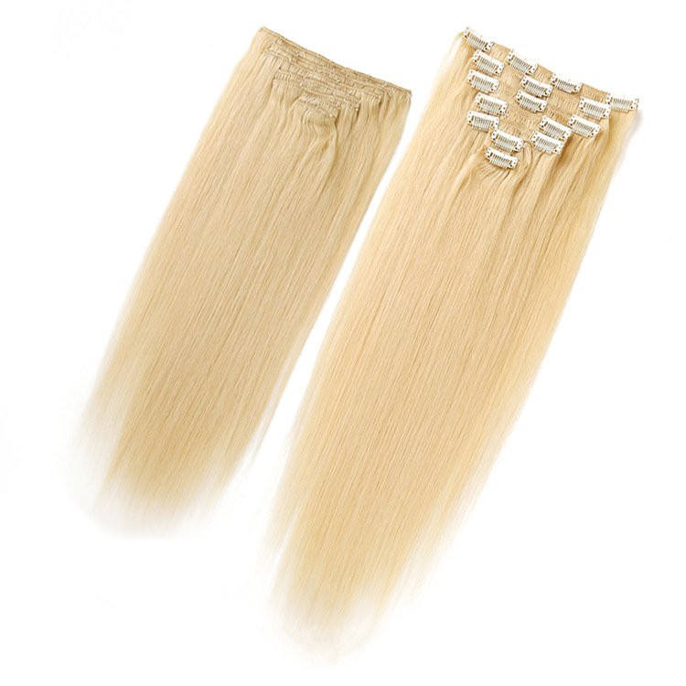 blonde color full head set 7 pcs remy human hair clip in hair extension