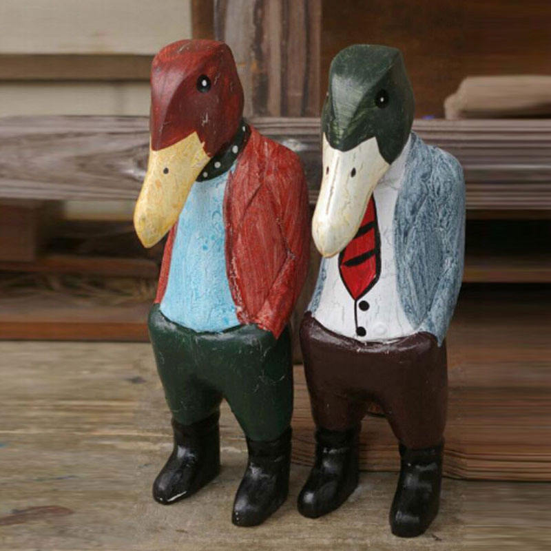 Jinhua new products on china market custom made hand carved wood animals duck statues with logo