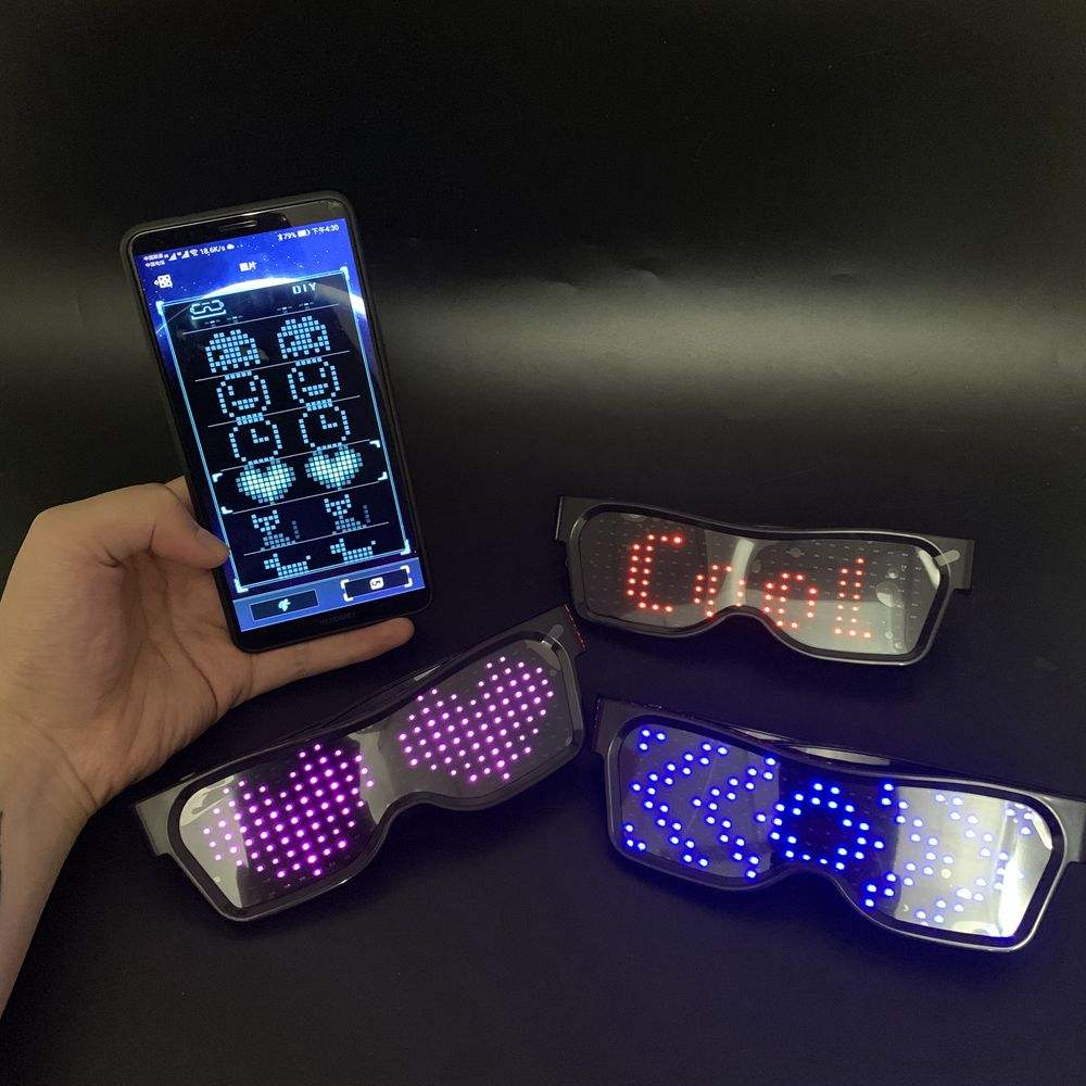 2019 New Magic Hot App Control USB Rechargeable Flashing Led Glasses
