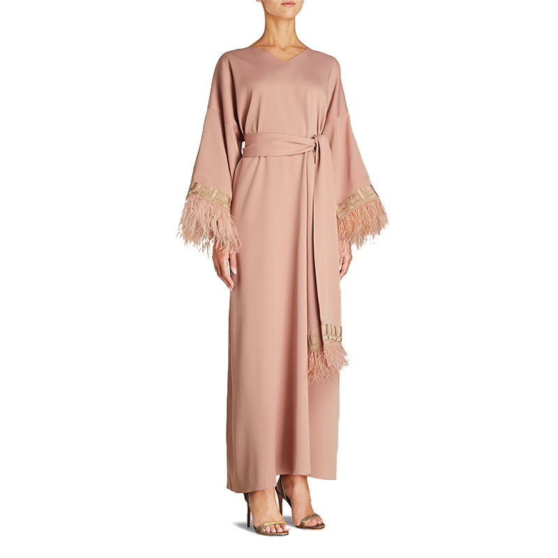 Good Quality O Neck Long Sleeves Embellished Feather Belted solid Abaya Dress For Muslim Women