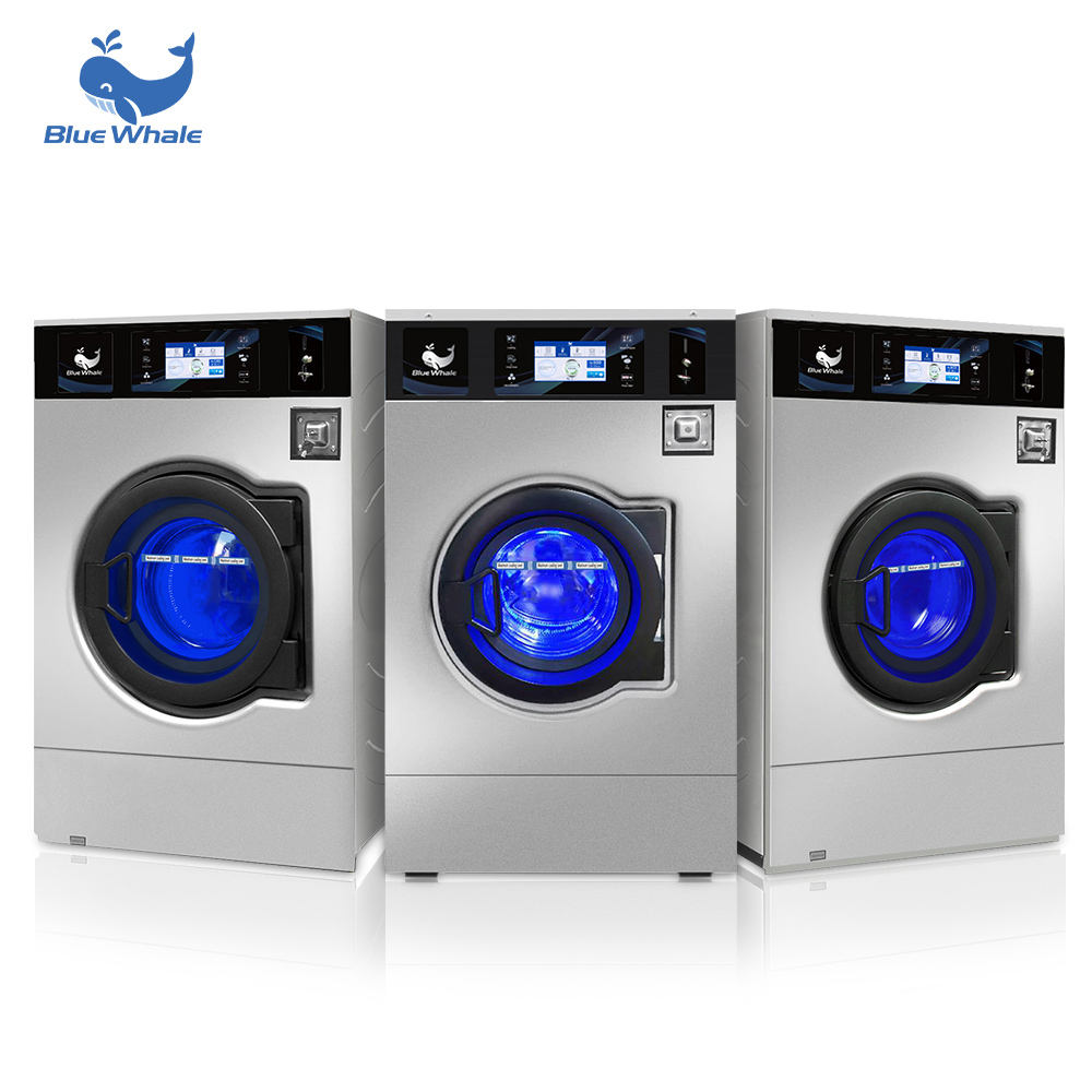 BLUE WHALE 15kg Commercial Vending Washer Coin Operated Laundry Token Washing Machines and Dryer
